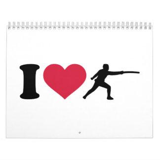 I love Fencing fencer Calendar