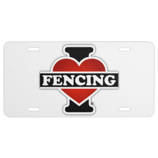 I Love Fencing License Plate