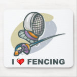 I Love Fencing Mouse Pad