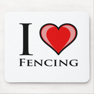 I Love Fencing Mouse Pads