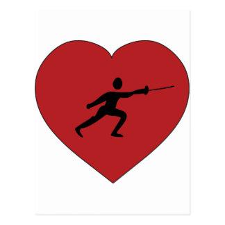 I Love Fencing Postcard