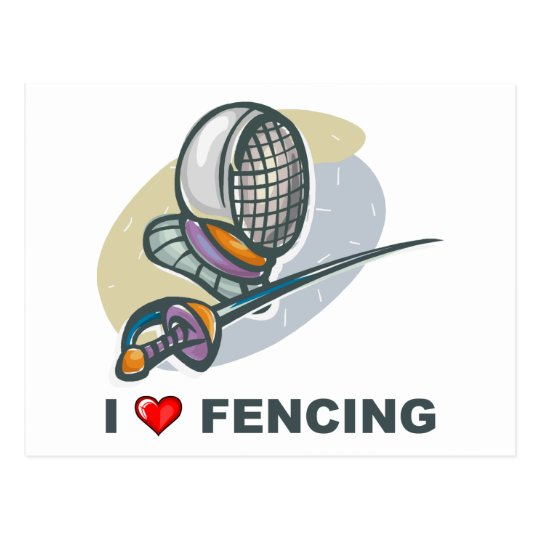 I Love Fencing Postcard