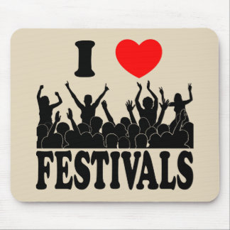 I Love festivals (blk) Mouse Pad