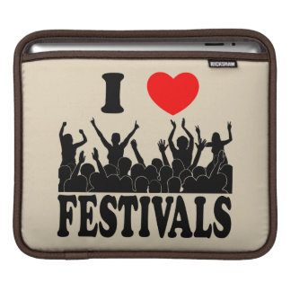 I Love festivals (blk) Sleeve For iPads