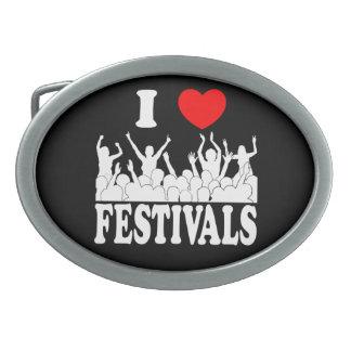 I Love festivals (wht) Belt Buckle