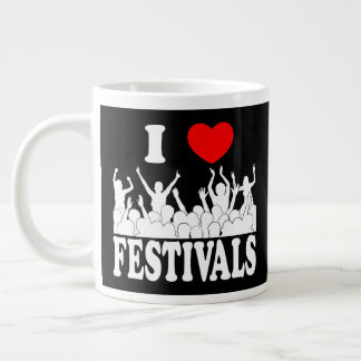 I Love festivals (wht) Giant Coffee Mug