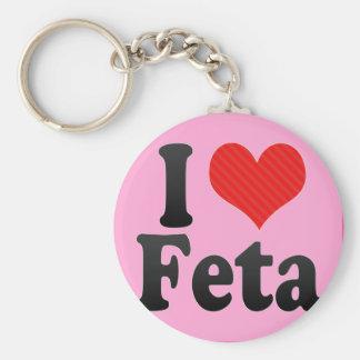 I Love Feta Basic Round Button Keychain
