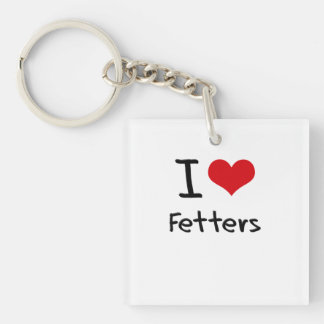 I Love Fetters Double-Sided Square Acrylic Keychain