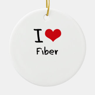 I Love Fiber Double-Sided Ceramic Round Christmas Ornament
