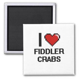 I love Fiddler Crabs Digital Design 2 Inch Square Magnet