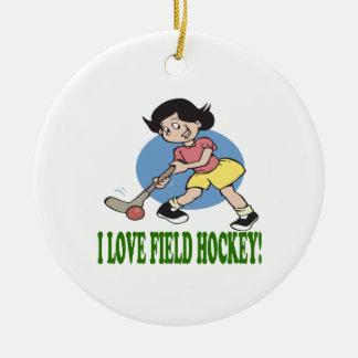 I Love Field Hockey 2 Ceramic Ornament