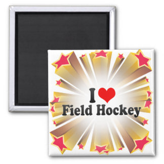 I Love Field Hockey 2 Inch Square Magnet