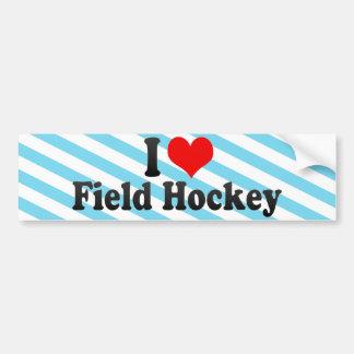 I Love Field Hockey Car Bumper Sticker