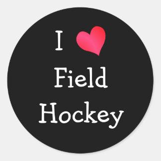I Love Field Hockey Classic Round Sticker