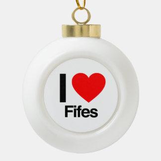 i love fifes ceramic ball christmas ornament