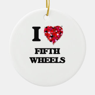 I love Fifth Wheels Double-Sided Ceramic Round Christmas Ornament