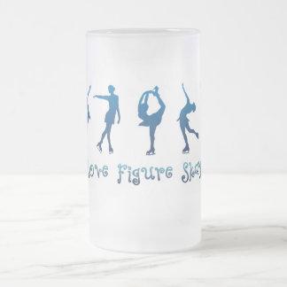 I love figure skating- blue frosted glass beer mug