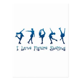 I love figure skating- blue postcard