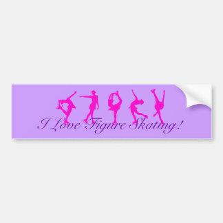 I Love Figure Skating Bumper Sticker - Purple Car Bumper Sticker
