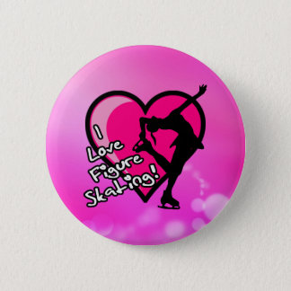 I love figure skating button, on pink pinback button