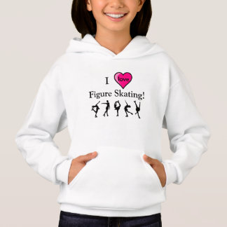 I Love Figure Skating Girls Hooded Shirt & Heart