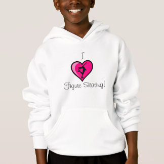 """I Love Figure Skating"" - Hot Pink Heart Hoodie"