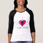 """I Love Figure Skating"" - Hot Pink Heart - WOMENS T-Shirt"