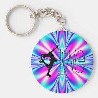 I Love Figure Skating Key Chains - Blue & Pink