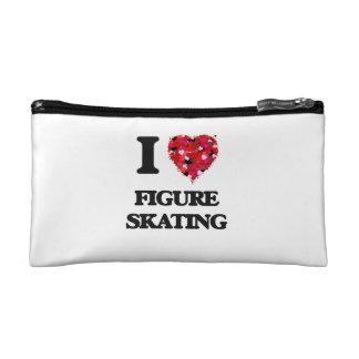 I Love Figure Skating Makeup Bags