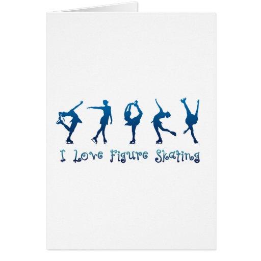 I love figure skating - navy greeting card