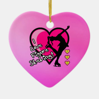 I love figure skating ornament - pink heart