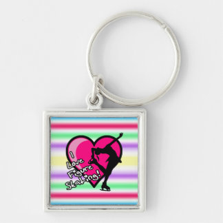 I Love Figure Skating- Pastel Rainbow Key Chain