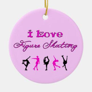 I Love Figure Skating - Pink & Black Ornament