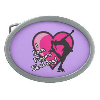 I Love Figure Skating pink heart and skater design Belt Buckle