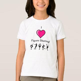 I Love Figure Skating pink heart and skater design T-Shirt