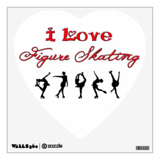 I love figure skating, Red, Heart Decal