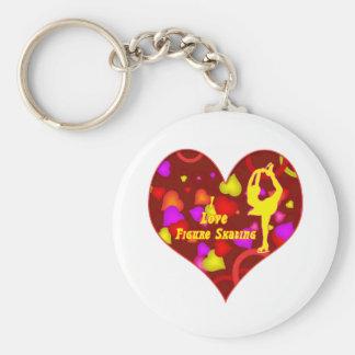 I Love Figure Skating Retro Design Heart Key Chain