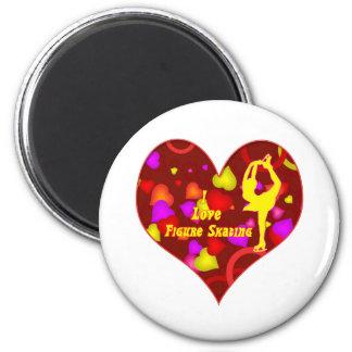 I Love Figure Skating Retro Design Heart Magnet