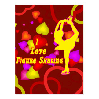 I Love Figure Skating Retro Postcard