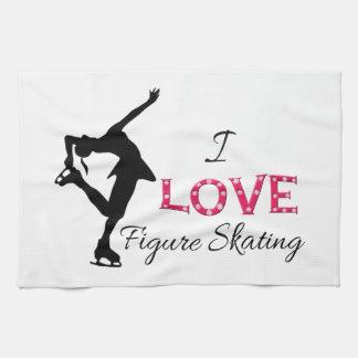 I LOVE Figure Skating, Snowflakes & Skater Hand Towels