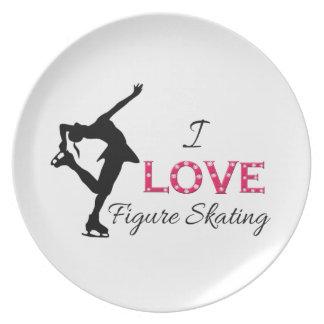 I LOVE Figure Skating, Snowflakes & Skater Melamine Plate