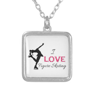 I LOVE Figure Skating, Snowflakes & Skater Silver Plated Necklace