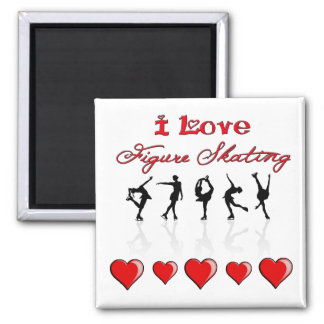 I Love Figure Skating w/ Hearts & Reflections Magnets