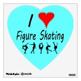 I love figure skating, with skaters, heart decal