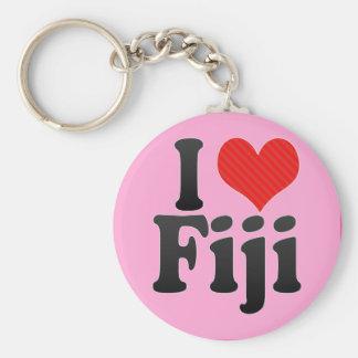 I Love Fiji Basic Round Button Keychain