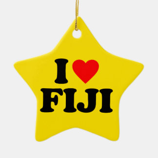 I LOVE FIJI Double-Sided STAR CERAMIC CHRISTMAS ORNAMENT