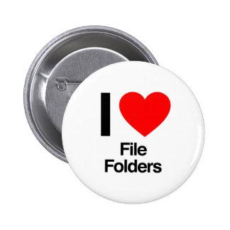 i love file folders pinback button