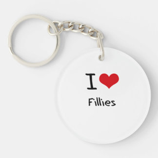 I Love Fillies Double-Sided Round Acrylic Keychain