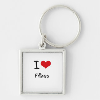 I Love Fillies Silver-Colored Square Keychain
