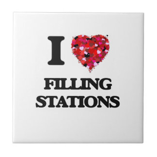 I Love Filling Stations Small Square Tile